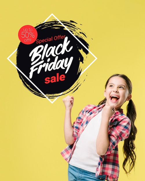 Black friday banner with girl Free Photo