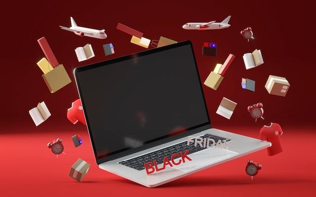 Concetto di venerdì nero con il computer portatile Foto Gratuite