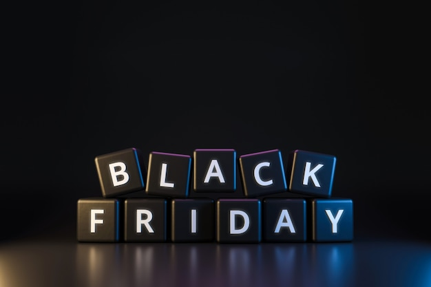Black friday dice with thanksgiving and christmas  on dark neon light . discount and special offer for sale holiday. realistic 3d render. Premium Photo