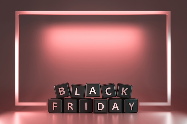 Black friday dice with thanksgiving and christmas  on pink neon light frame . discount and special offer for sale holiday. realistic 3d render. Premium Photo