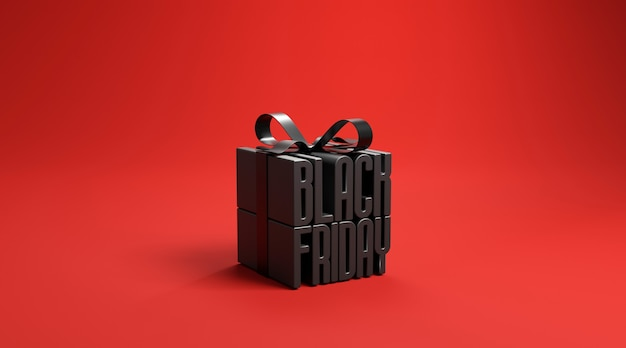 Black friday in gift box wrapped with black ribbon on red background. Premium Photo