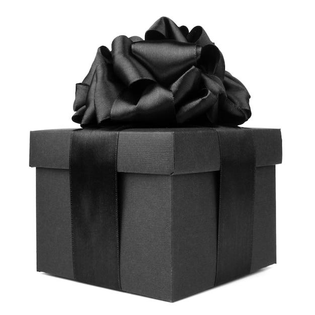 ブラックフライデーギフト、白い背景で隔離のシルクリボンの弓と紙箱 Premium写真