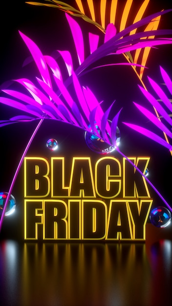 Black friday long tie yellow and black banner with tropical pink leaves and balls. Premium Photo