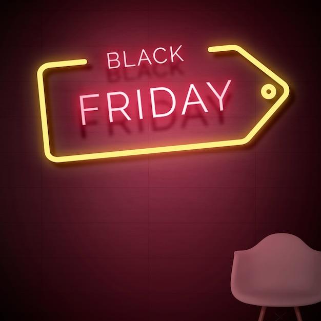 Black friday neon sign Free Photo