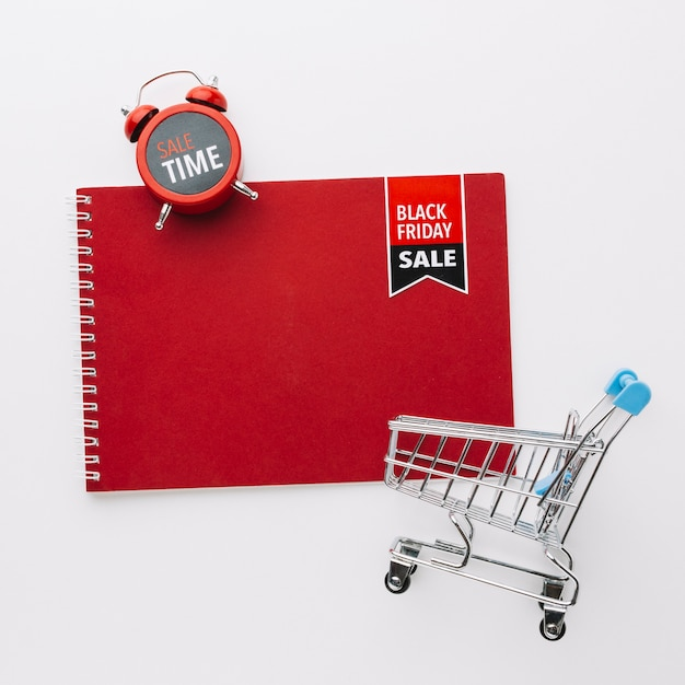 Black friday notepad mock-up sale concept Free Photo