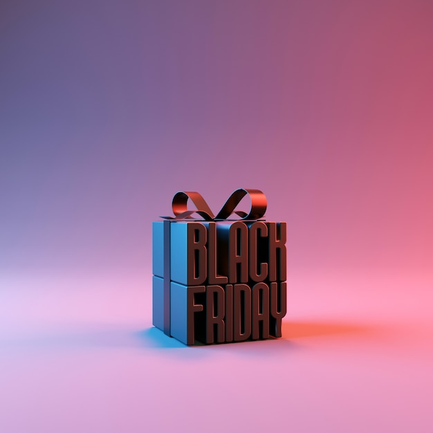 Черная пятница распродажа в подарочной коробке, обернутой красной лентой на фиолетовом фоне. Premium Фотографии