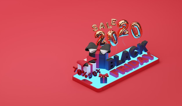 Black friday sale on mobile. 3d render Premium Photo