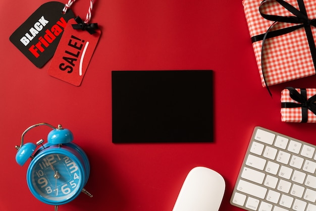 Black friday sale text on a red tag Premium Photo