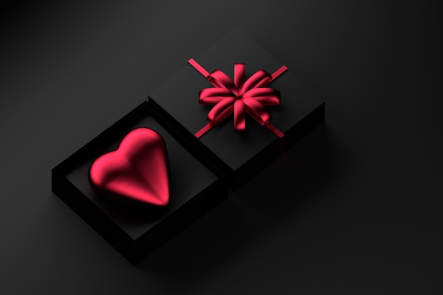 Black gift box with red heart and a bow. Premium Photo