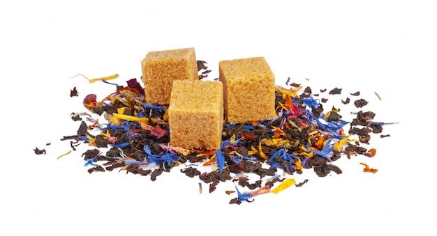 Black and green ceylon tea with dry flowers Premium Photo