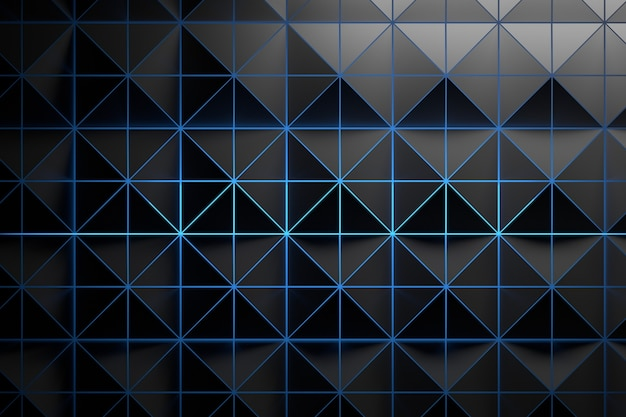 Black grey pattern with triangles and blue glowing light Premium Photo