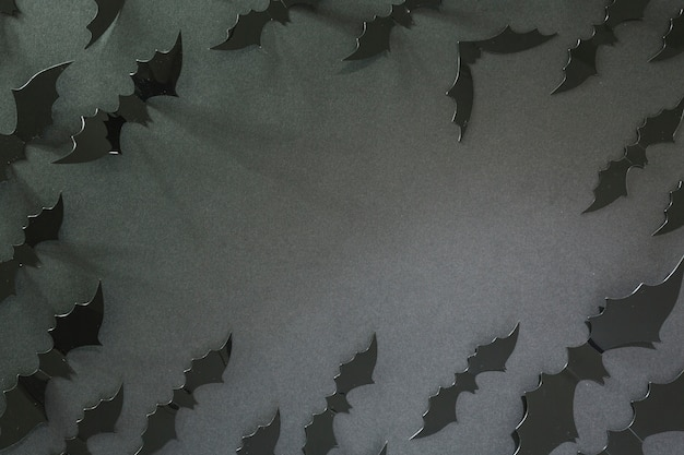 Black halloween bats laid in circle Free Photo