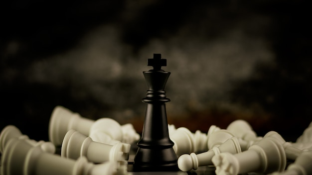 Black king chess stand as the alone. -  leader and business winner concept. Premium Photo