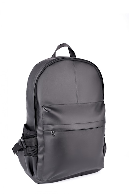 Black leather backpack isolated on white Premium Photo