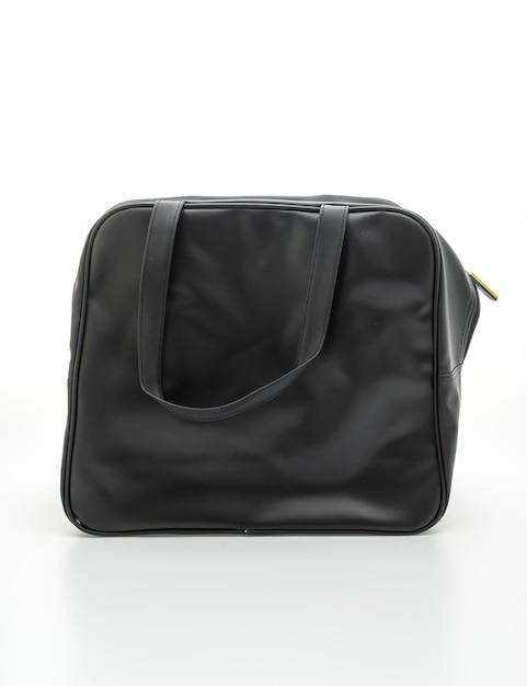 Black leather bag on white Premium Photo