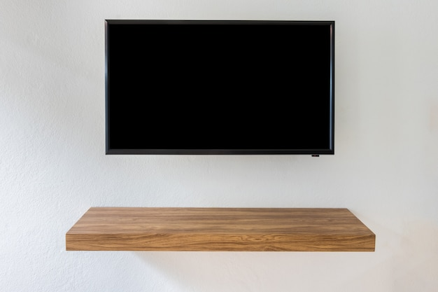 Black Led Tv Television Screen On White Wall Background With Modern