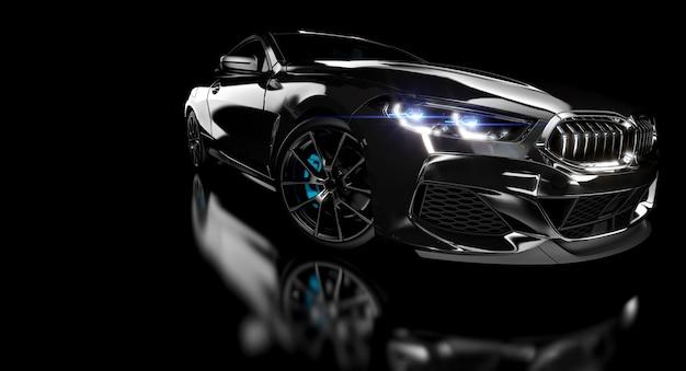Черный роскошный спортивный автомобиль на темном фоне. Premium Фотографии