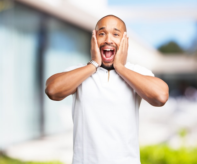 Black man worried expression Photo | Free Download
