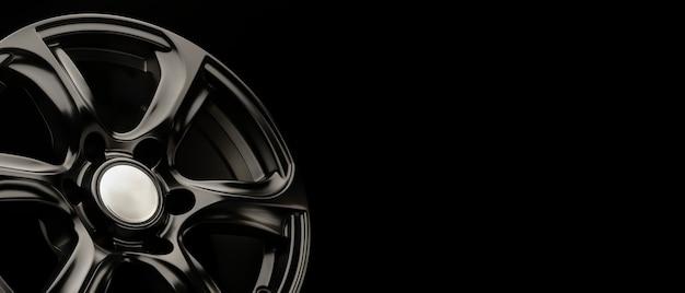 Suvクラスの車、パノラマコピースペース、ロングコンセプト用のブラックマットパワフルアロイホイール。 Premium写真