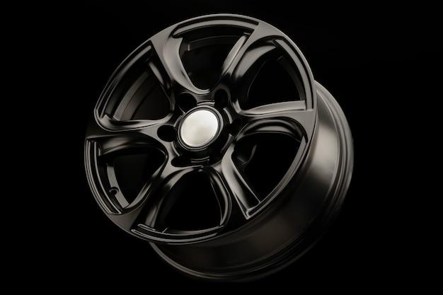 Suvクラスの車用のブラックマットパワフルアロイホイール。 Premium写真