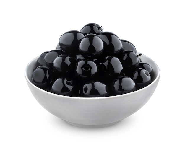 Black olives isolated on white background Premium Photo