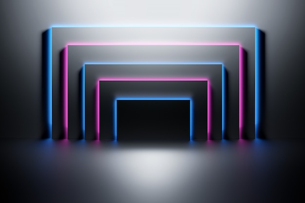 Black panels illuminated with neon blue and pink light over the dark shiny surface. Premium Photo