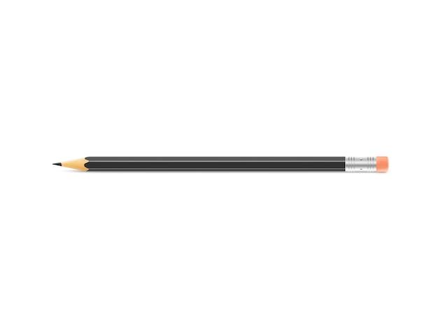 Black pencil  lies on isolated background Premium Photo