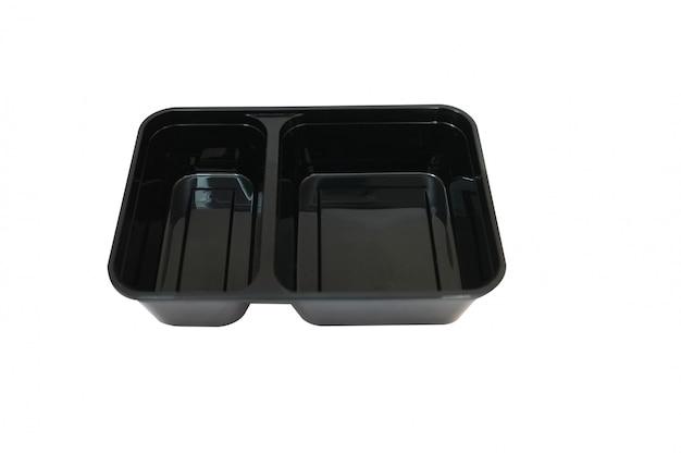 Black plastic food container on white background Premium Photo