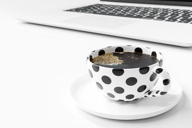 白いテーブルに黒い水玉コーヒーマグカップ。 3dレンダー Premium写真
