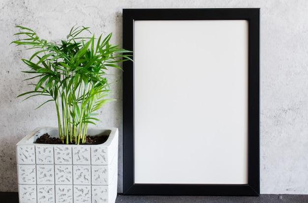 黒のポスターまたはフォトフレームとコンクリートの鍋で美しい植物 Premium写真