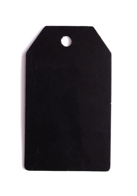 Black price tag isolated on white background Premium Photo