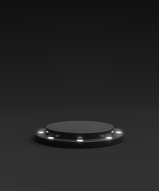 Black product background stand or winner podium pedestal on advertising neon display with blank backdrops. 3d rendering. Premium Photo