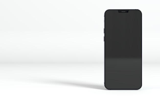 白い背景の上の黒いスマートフォン 無料写真