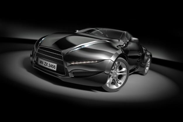 black sport car on black background