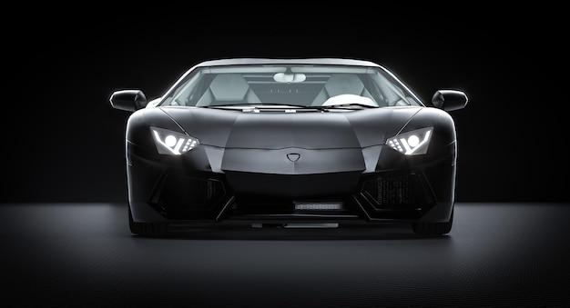 Черный спортивный автомобиль на фоне углеродного волокна. 3d визуализация. Premium Фотографии