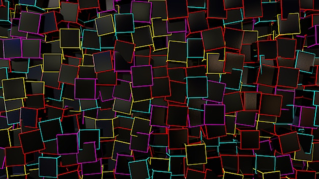 Black square box abstract background Premium Photo