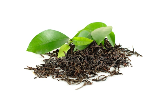 Black tea with green leaf isolated on white Premium Photo