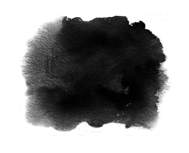 ウォッシュとブラシストロークで黒い水彩絵の具の黒い水彩見本 Premium写真