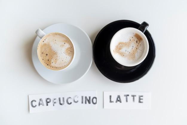 Black and white cappuccino latte Free Photo
