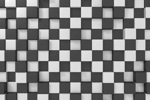 Black and white cubes background. 3d rendering. Premium Photo