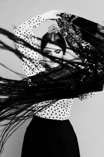 Black and white flamenca moving manila shawl Free Photo