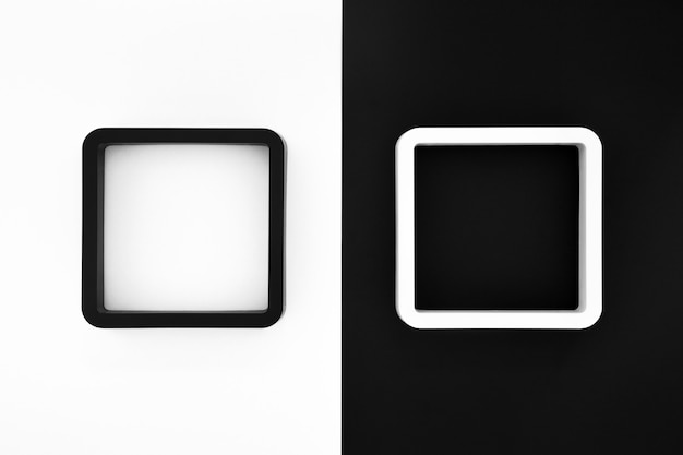 Black and white frames on white and black color background Premium Photo