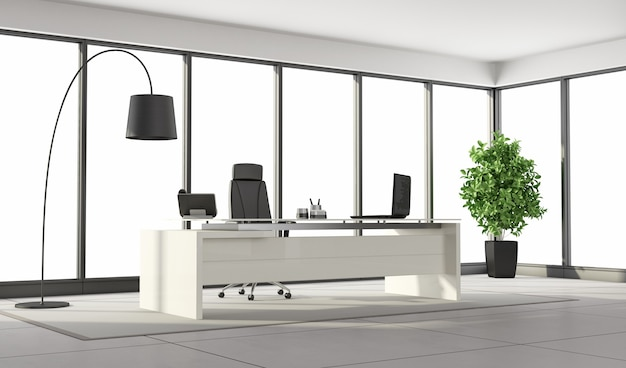 Premium Photo Black And White Modern Office With Large Windows And Minimalist Furniture