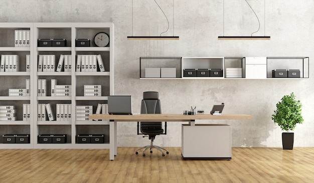 Black and white modern office Premium Photo