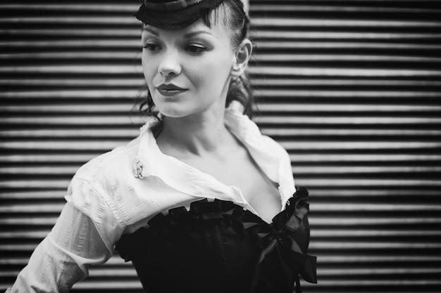 Black and white retro portrait Premium Photo