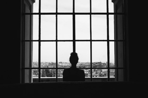 Black and white shot of a lonely female standing in front of the windows looking at the buildings Free Photo