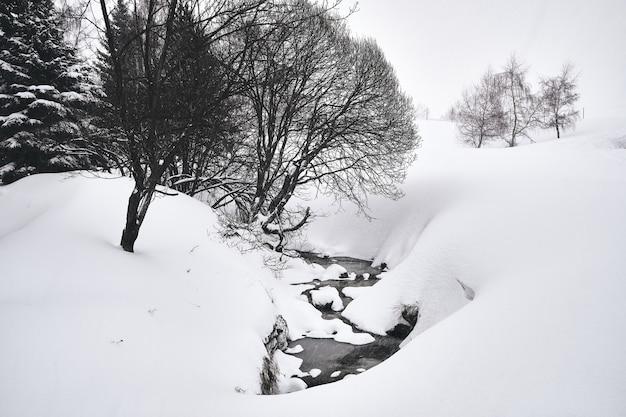 Colpo in bianco e nero di un ruscello che scorre attraverso la stazione sciistica di alpe d huez nelle alpi francesi Foto Gratuite