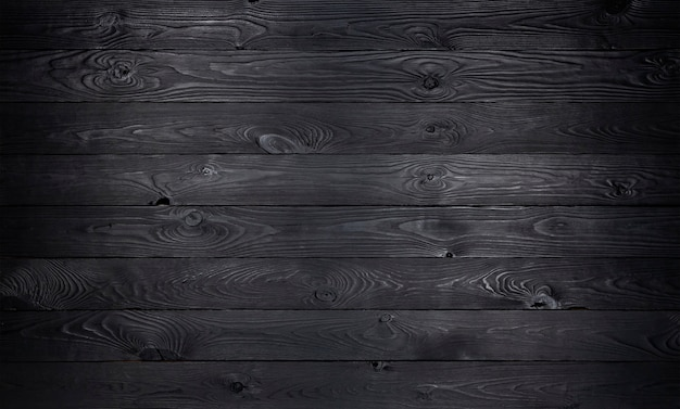Black wooden, old wooden planks texture Premium Photo