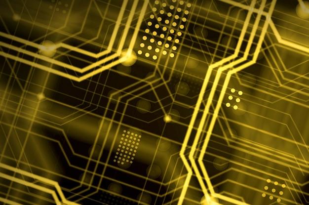 Black and yellow circuit lines Premium Photo