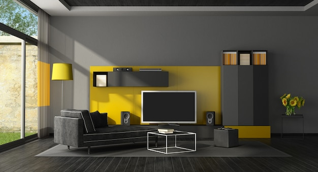 Black And Yellow Living Room With Tv Set Premium Photo